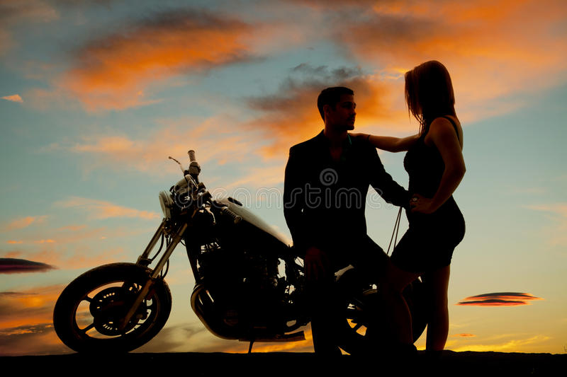 Bikers Quotes Wallpapers Silhouette Of Woman By Man On Motorcycle Stock Photo
