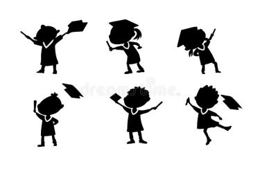 graduate cartoon student silhouettes education happy excited college diploma gown classmates cap vector preview