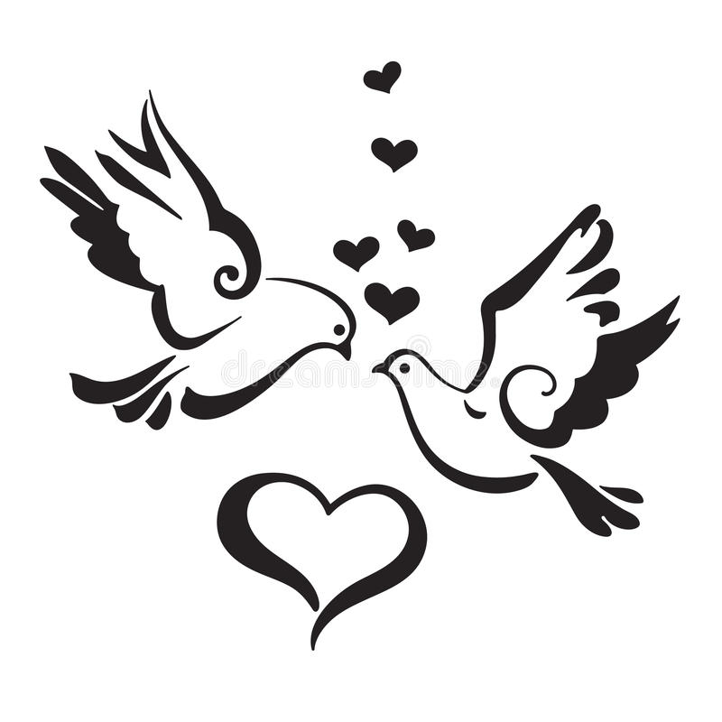 Download Silhouettes Of Doves With Hearts On White Background Stock ...
