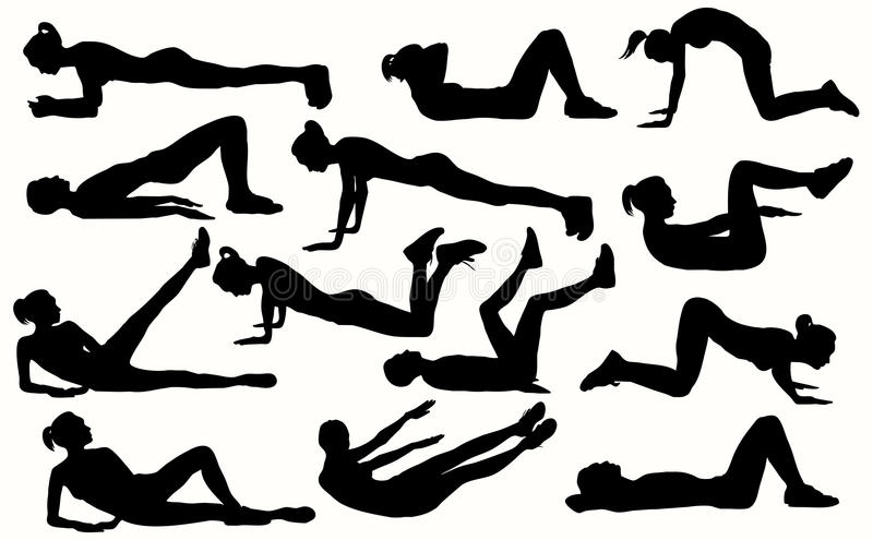 Silhouettes Of A Girls Doing A Fitness Exercises. Stock
