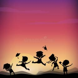 graduate student silhouettes dottorando siluette cartoon jump fumetto excited college happy estudiante salto graduado siluetas illustrazione diploma classmates holds saltano