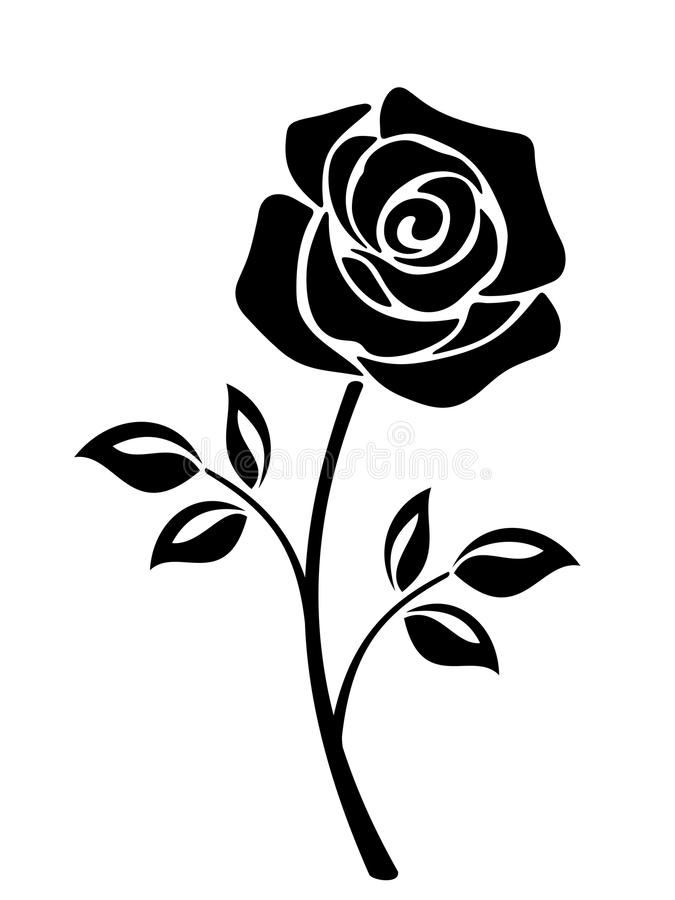 Silhouette Of Rose Stock Illustration