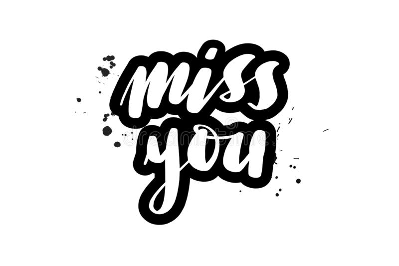 Vintage Miss You, Love Poster Or Postcard. Stock