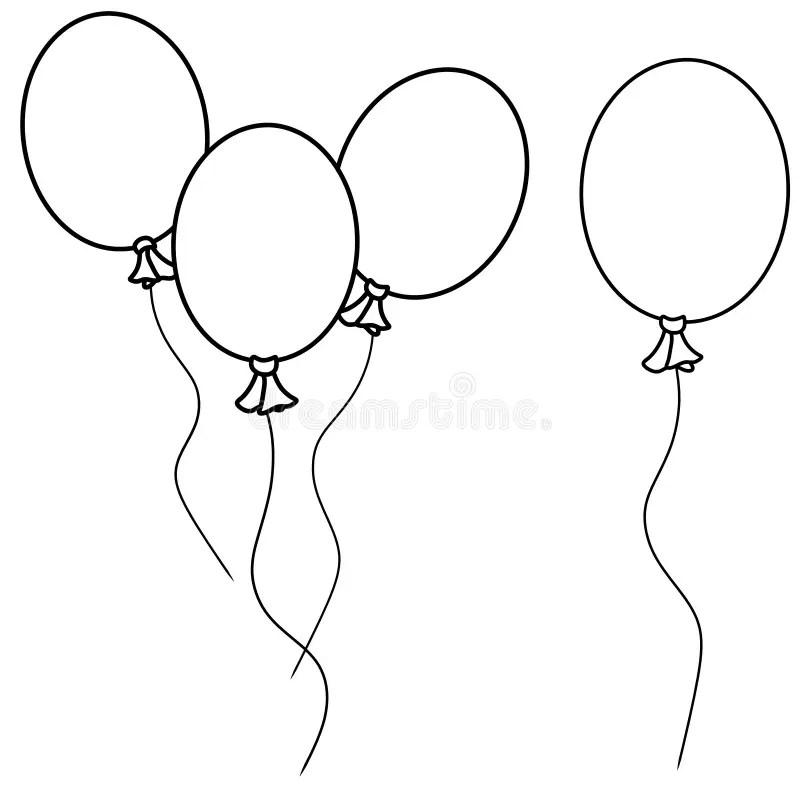 Simple Balloons Line Art stock illustration. Illustration