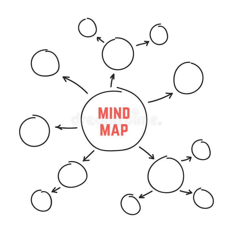 Simple Black Hand Drawn Mind Map Stock Vector