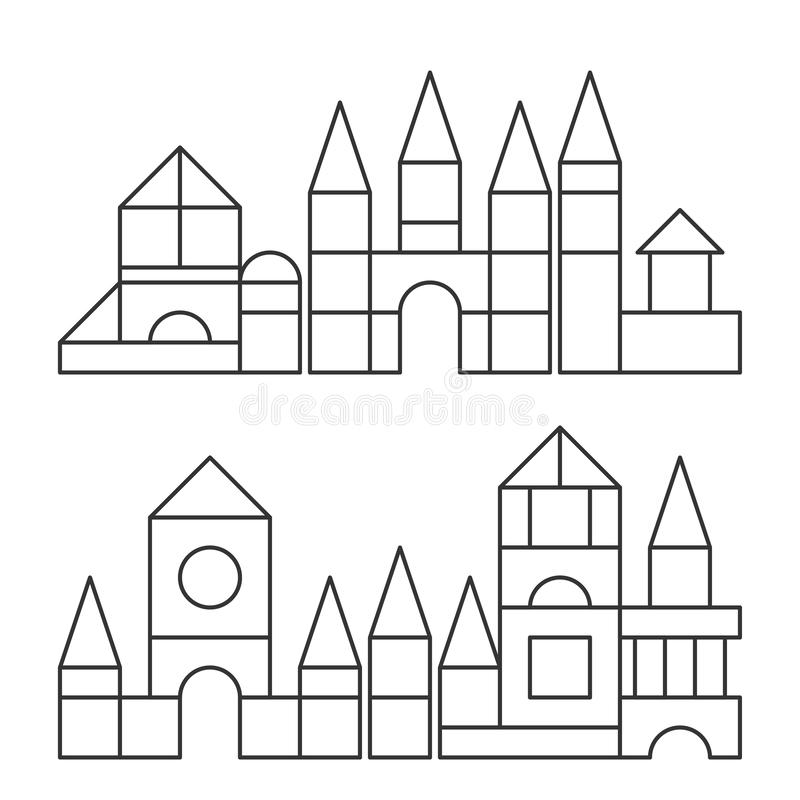 Simple Line Style Blocks Toy Towers For Coloring Book