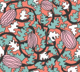 simple watermelon outline pattern seamless coral plant trailing backgrounds vectores