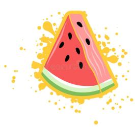 watermelon triangle splash simple vector yellow outline vibe summer