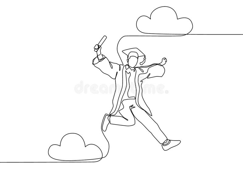 A Drawing Of A Person Graduating Stock Vector