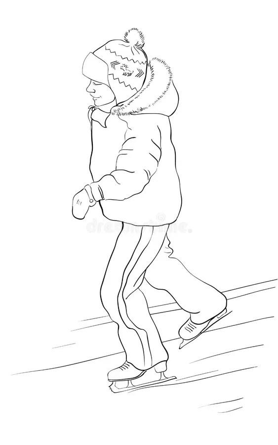 Boy ice skates stock illustration. Illustration of cartoon