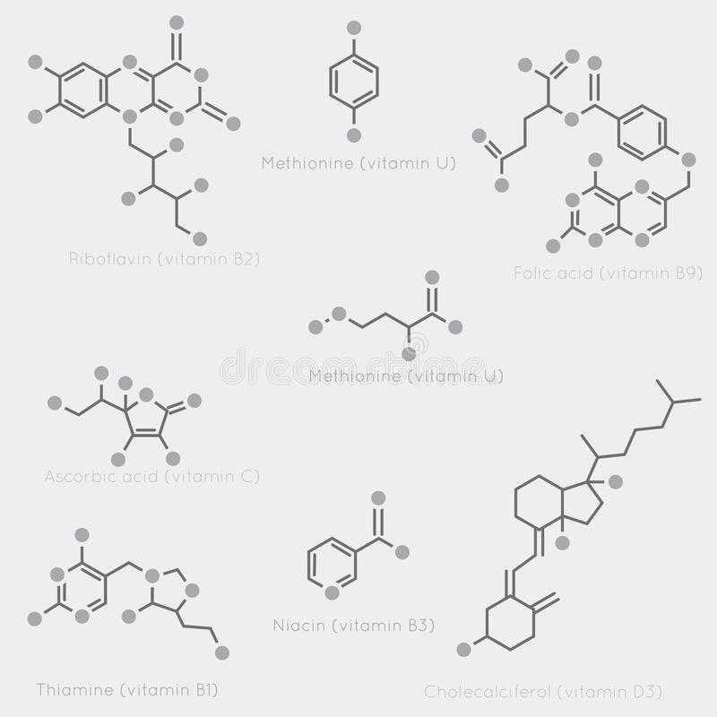 Organic Molecules Against A Grid Background Stock
