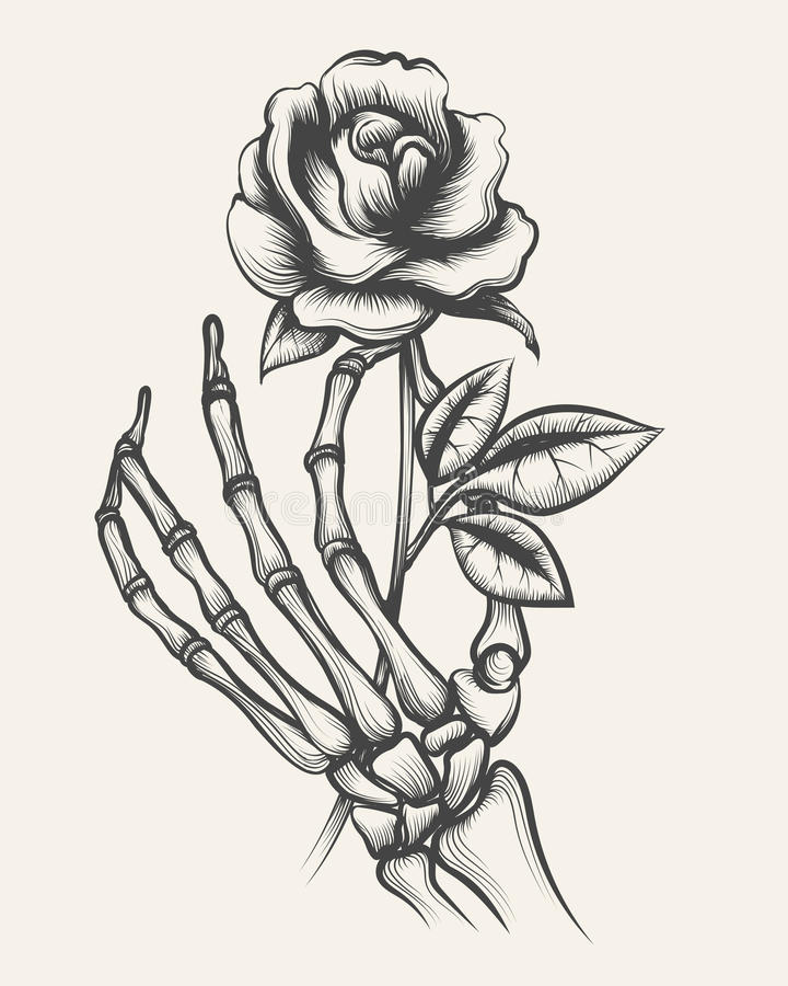 Skeleton Hands With Rose Flower Stock Vector