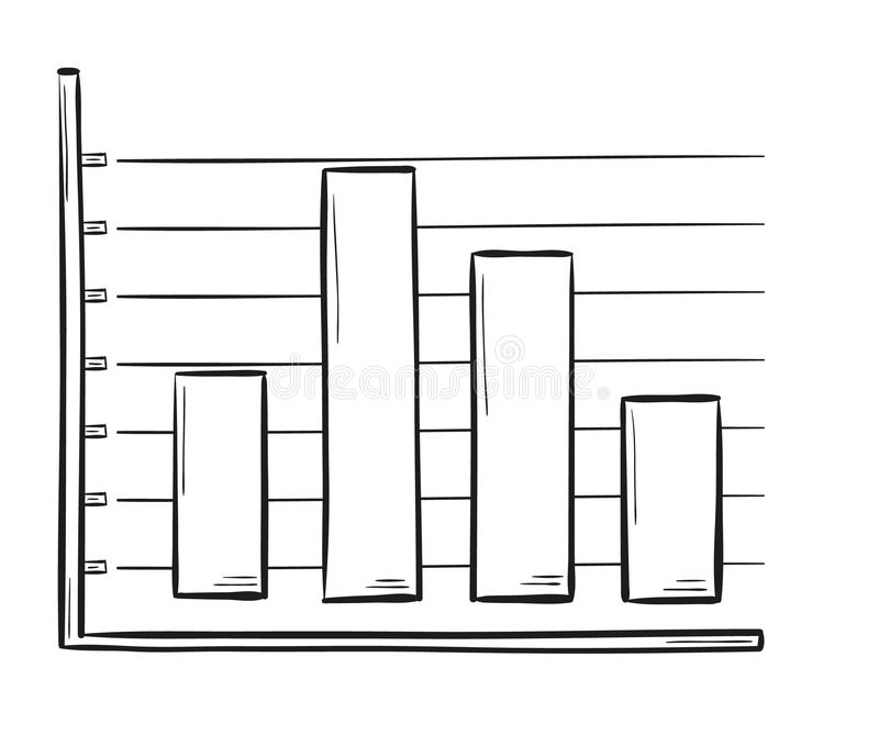 Sketch of the bar chart stock vector. Image of cartoon