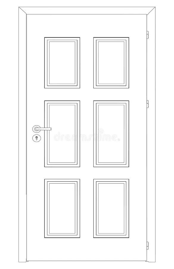 Sketch Of Closed Wire-frame Door. Vector Stock Vector