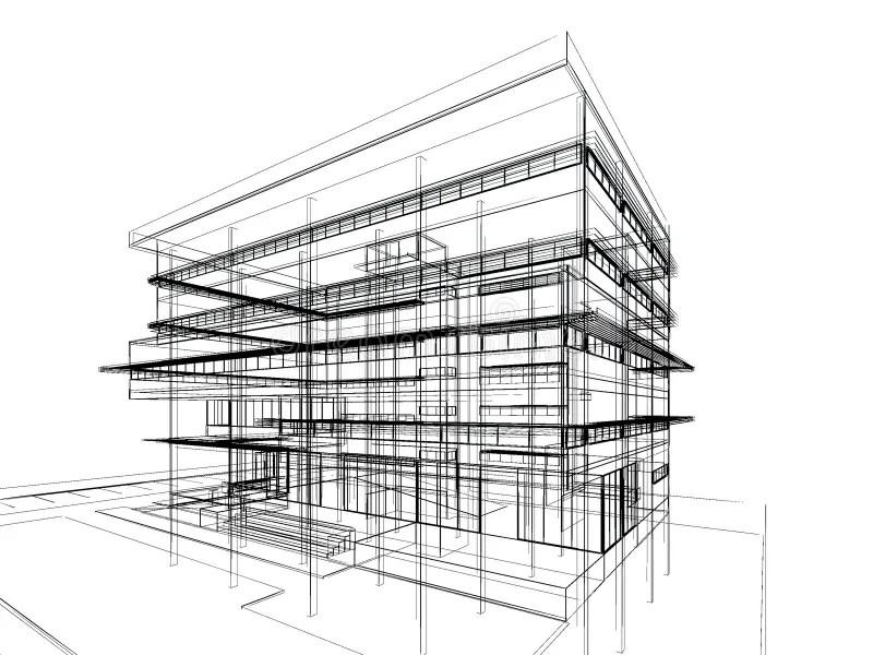 Sketch design of building stock illustration. Illustration