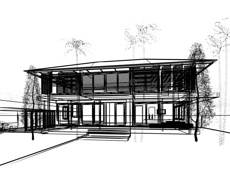 Sketch design of house stock illustration. Illustration of