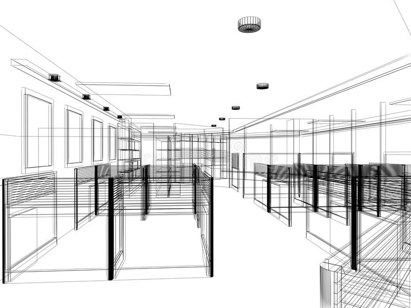Sketch Design Of Interior Office, Wire Frame Stock