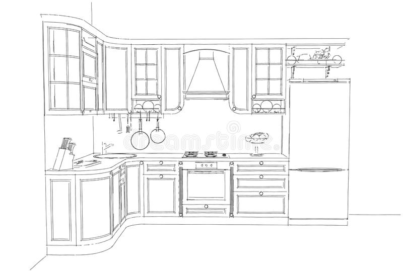 Sketch Drawing Of Classic Kitchen Interior 3d Stock