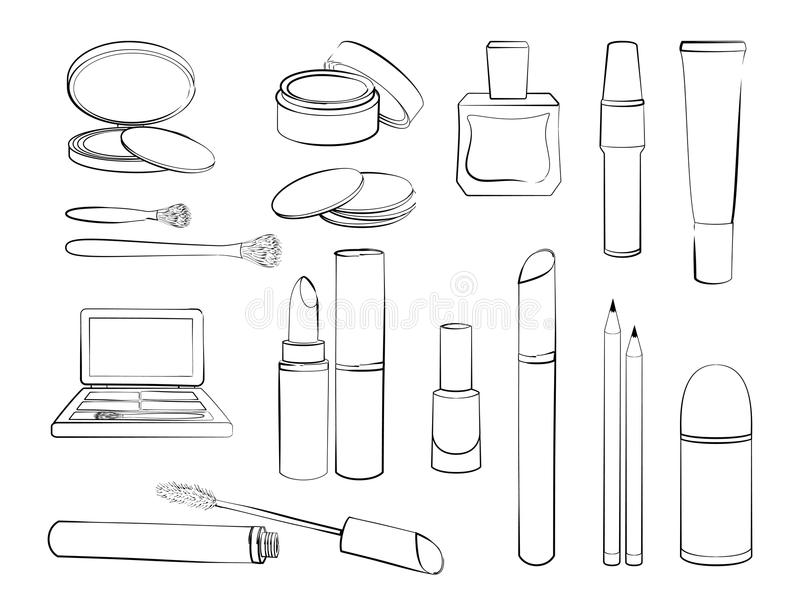 Sketch Of Elements For Make-up Isolated On White
