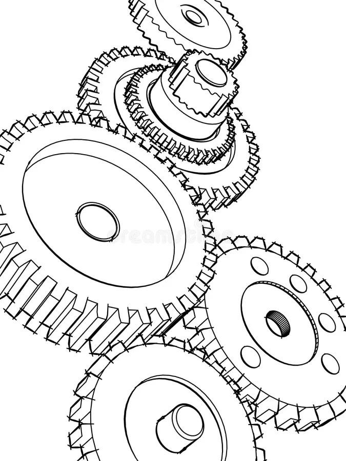 Sketch gears stock illustration. Illustration of circle