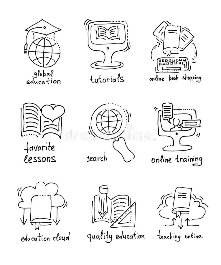 Sketch Icons Distance Education And Online Learning