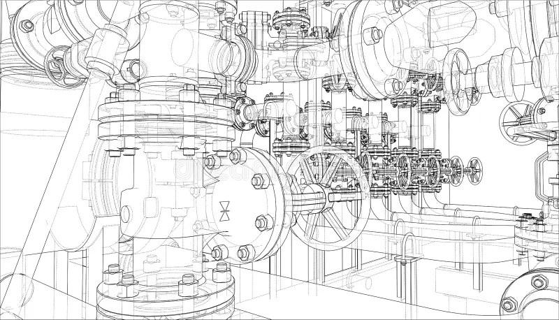 Sketch Of Industrial Equipment. Vector Stock Vector