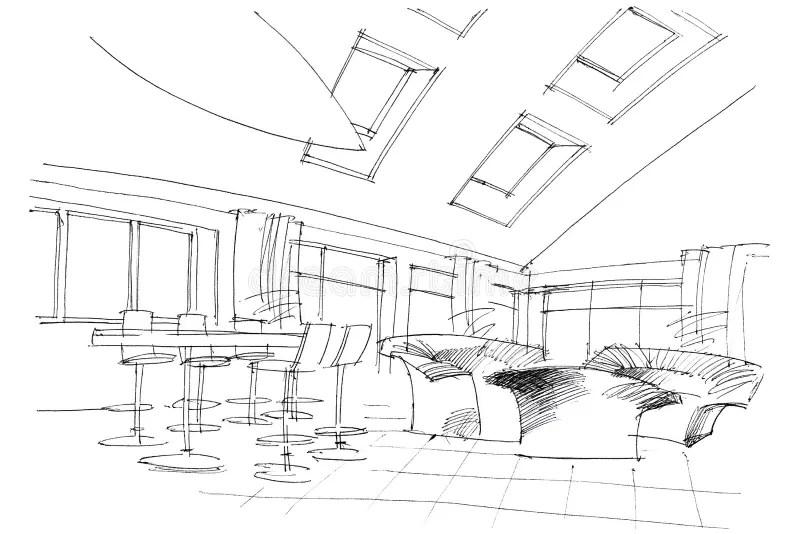 Plan Drawing Public Building Stock Illustration