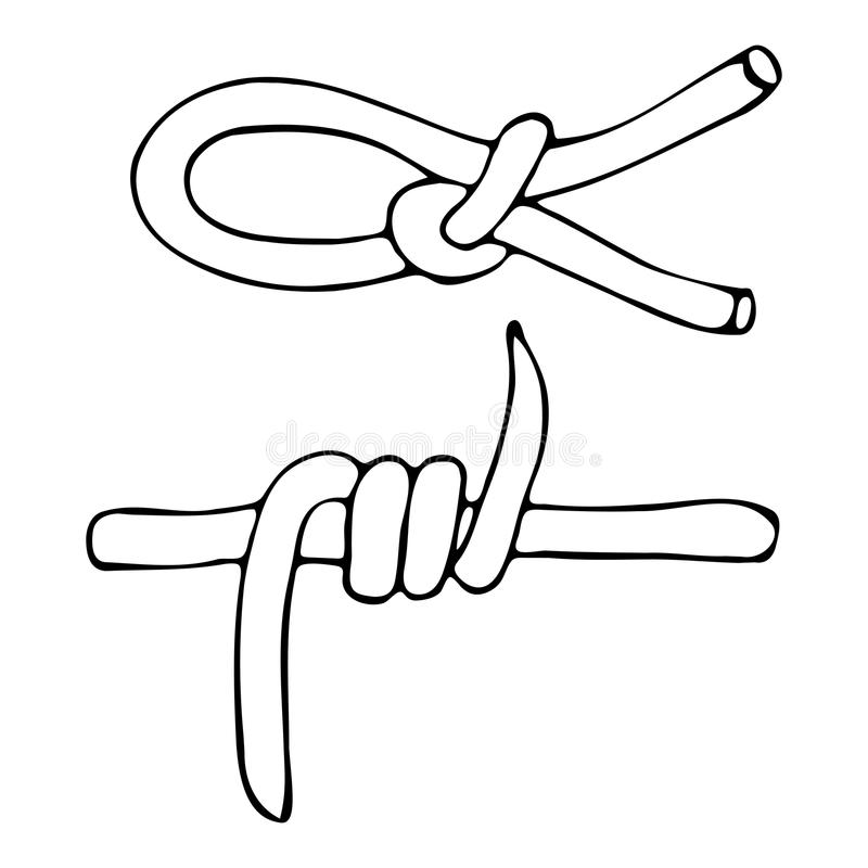 A Sketch Of The Knot Of Rope And Barbed Wire . Stock