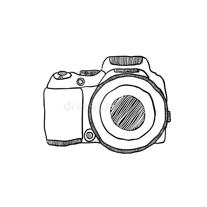 The Sketch Of A Photo Camera Drawn By Hand Stock Vector
