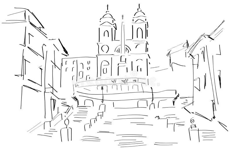 Sketch Of The Piazza Di Spagna Stock Illustration