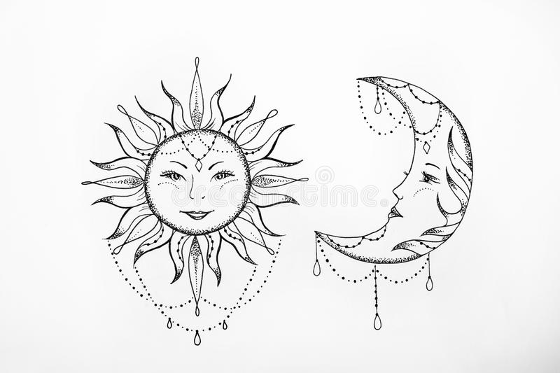 Sketch Of The Sun And The Moon White Background. Stock
