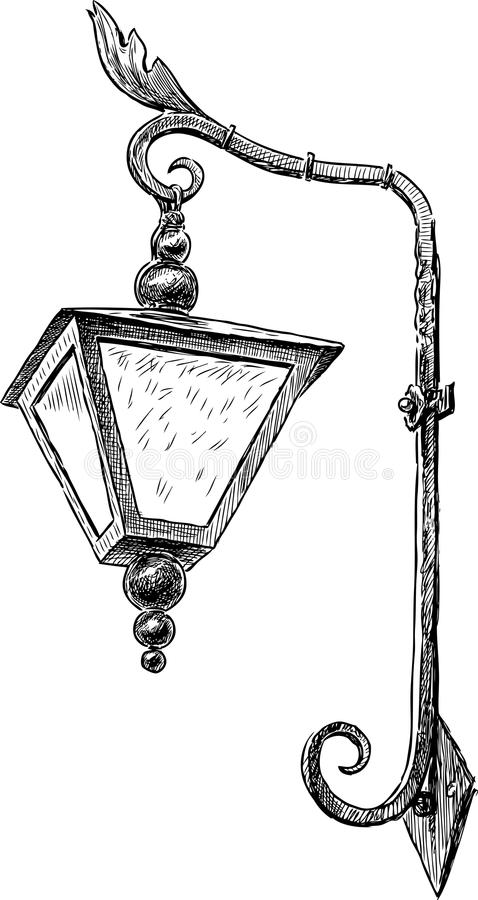 Sketch Of A Vintage Streetlight Stock Vector