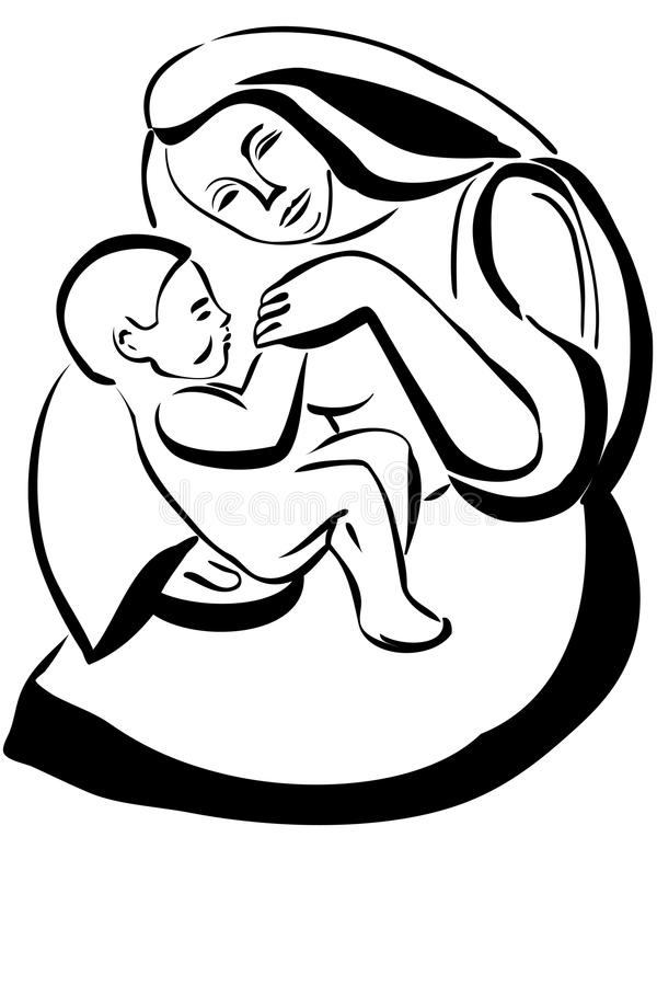 Mother And Baby Images Drawing : mother, images, drawing, Sketch, Woman, Mother, Holding, Stock, Illustrations, Illustrations,, Vectors, Clipart, Dreamstime