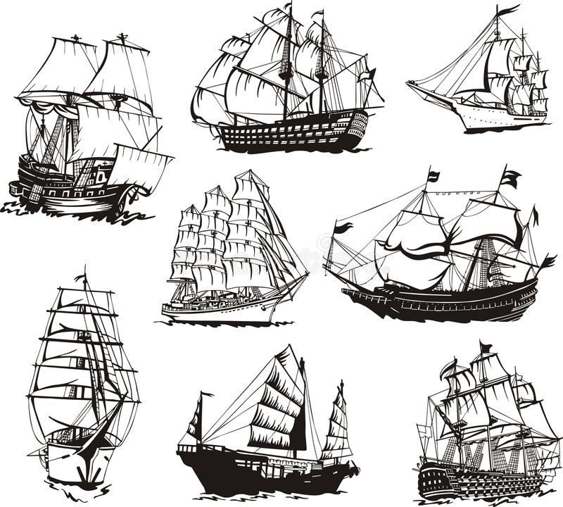 Sketches of sailing ships stock vector. Illustration of