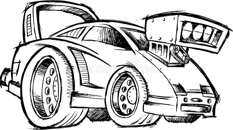 Sketchy Hot-Rod Race-Car Vector Stock Vector