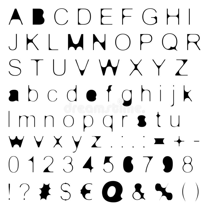 Skinny Retro Font Big & Small Letters With Signs & Numbers