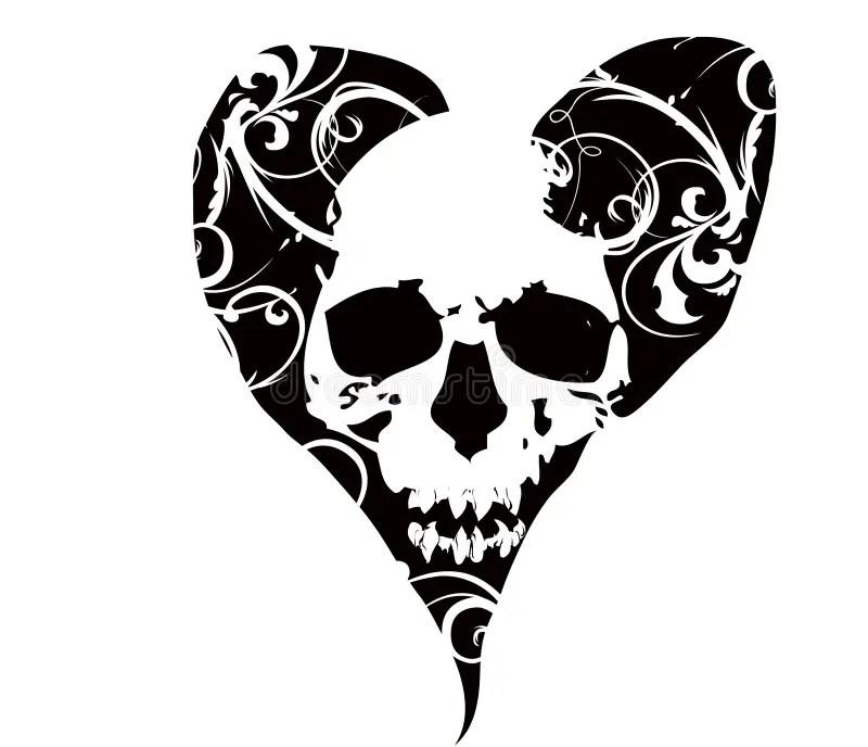 Skull in heart stock vector. Illustration of teeth, gothic