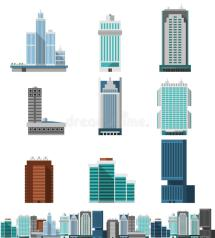 Skyscraper Offices Set Stock Vector. Illustration Of