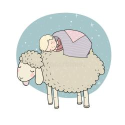 cartoon sleeping night sheep sleep cute boy bunny pajamas rest illustration print relaxation