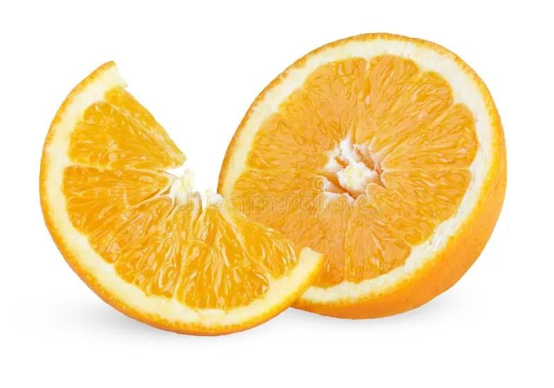 Slice And Half Of Ripe Orange Stock Image