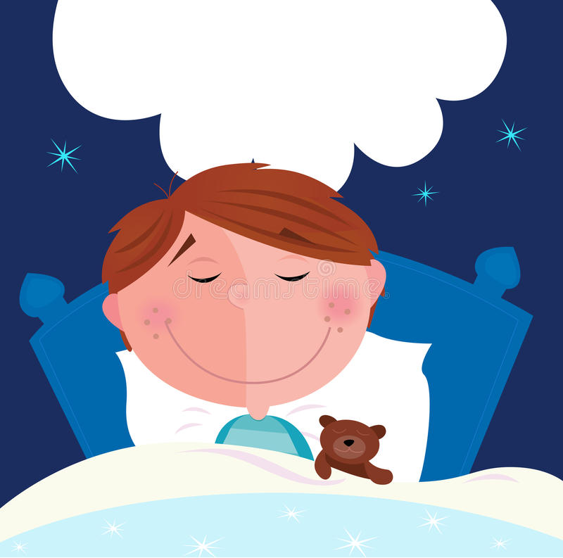 Small Boy With His Teddy Bear Sleeping In Bed Stock Vector
