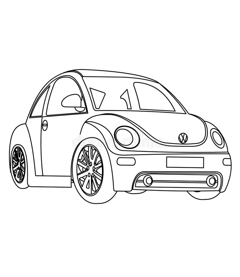 Small car coloring page stock illustration. Illustration