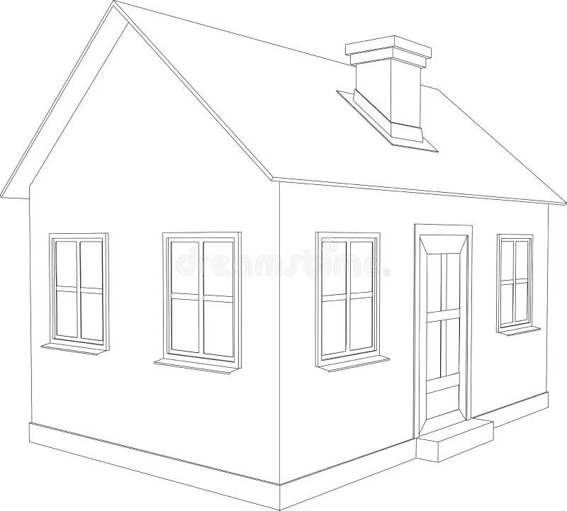 House Small Blueprint Stock Illustrations