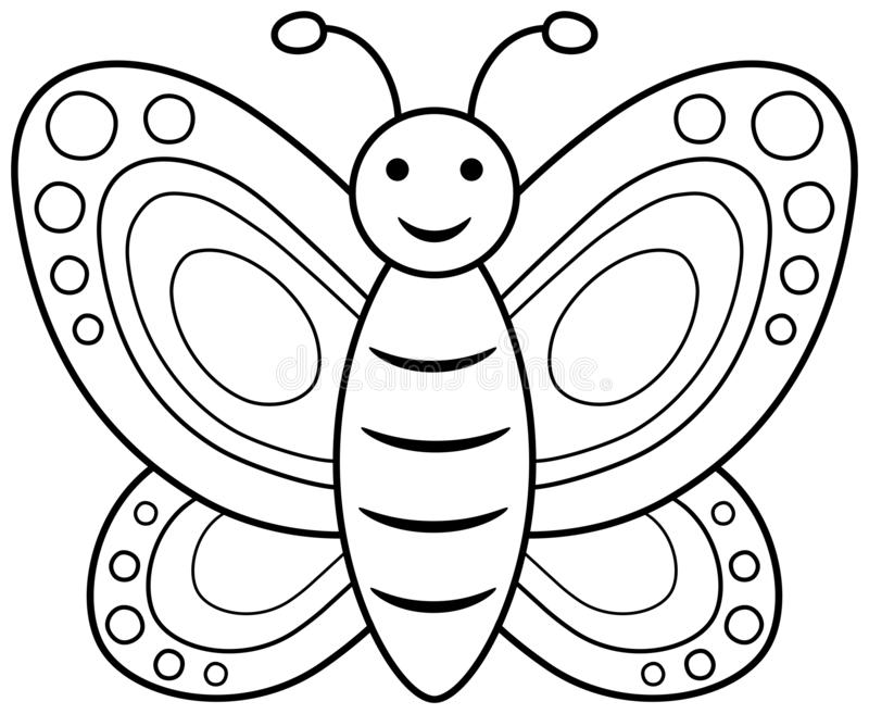Butterfly Coloring Book Page. Vector Outline Illustration