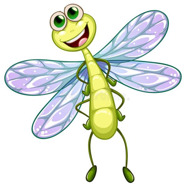 smiling dragonfly stock vector