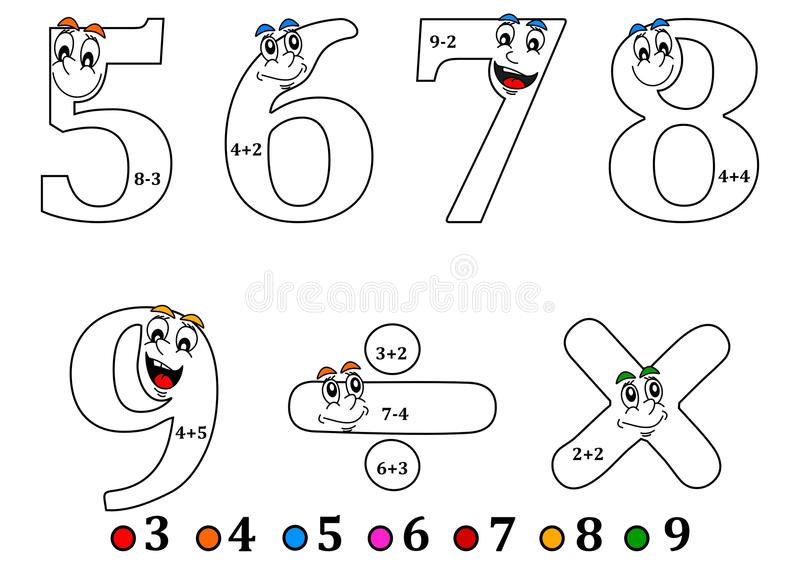 Smiling Numbers For Coloring As Counting For Kids