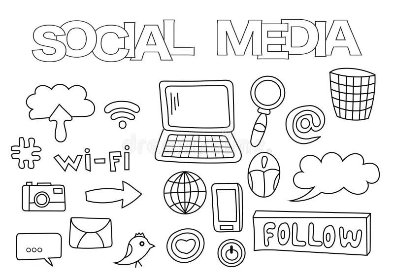Social Media Elements Hand Drawn Set. Coloring Book