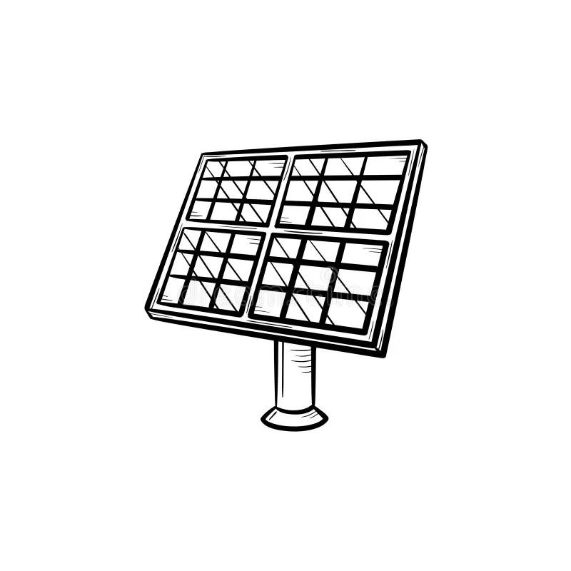 Solar Panel Hand Drawn Sketch Icon. Stock Vector