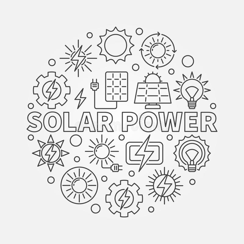 Electricity Conversion Of Solar Energy Stock Vector