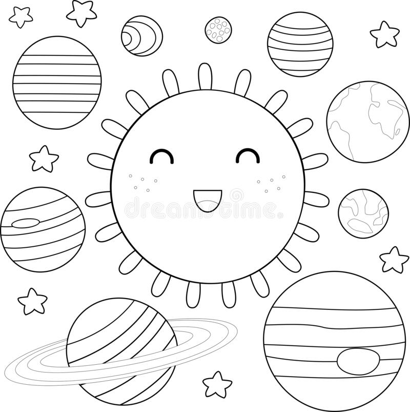 Coloring Solar System Stock Illustrations